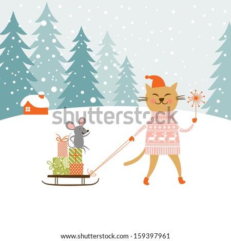 cute kitty carries the sledge