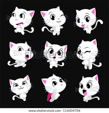 cute kitty cat poses stock vector illustration 116004706