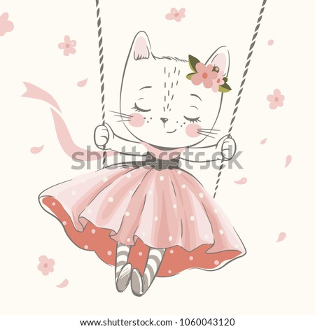 cute kitty in the swing hand
