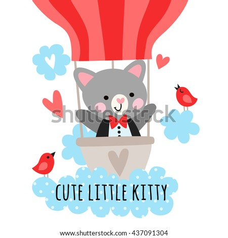 Cute kitty sailor flying in a balloon. Children's illustration with a kitty.