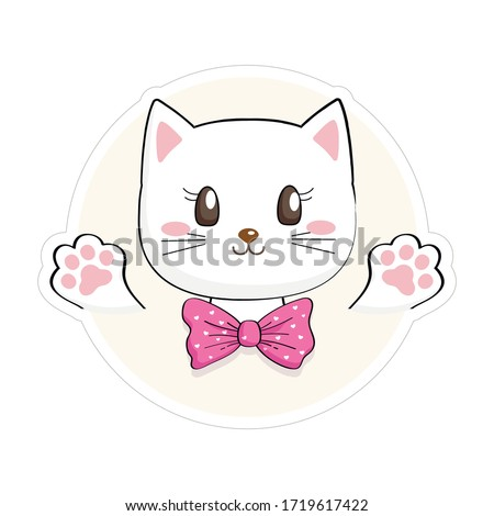 Cute Kitty Sticker. Funny baby cat useful for many applications, your designs, prints for apparel, scrapbooking projects.