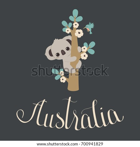 cute koala climbing on a floral