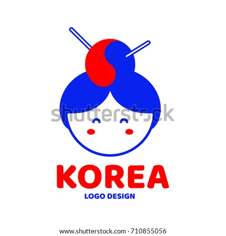 cute korea woman face logo