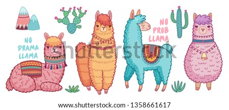 Cute Lamas with funny quotes. Funny hand drawn characters. Vector illustration.