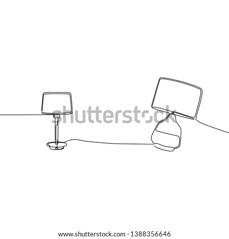 cute lamp and bed lamp continuous and one line lamps Vector illustration