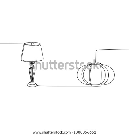 cute lamp and pumpkin lamp continuous and one line lamps Vector illustration