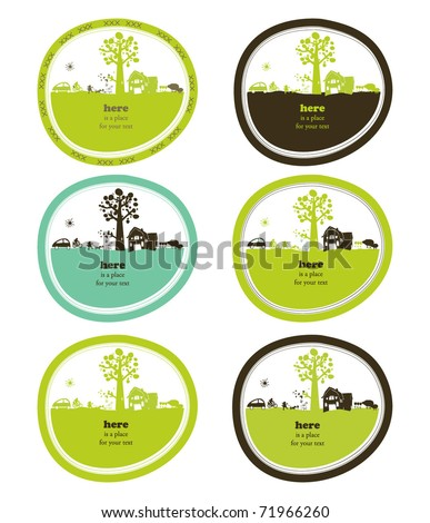 cute landscapes in label shape