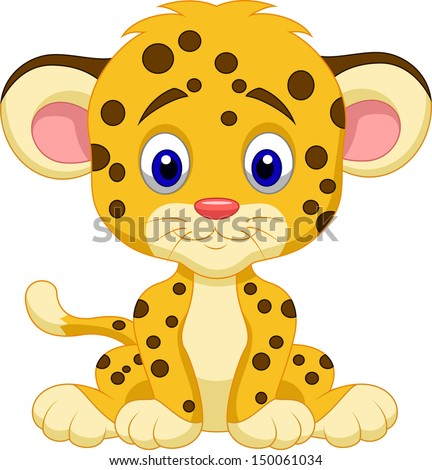 Cute leopard cartoon - stock vector