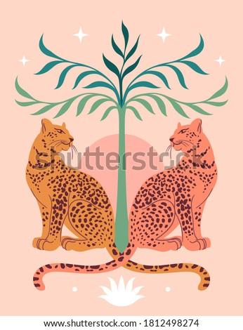Cute Leopards, Sun, palm tree. Modern abstract art. Boho style. Mid Century print. Cosmic minimalistic scene. Protect wild animals poster. Magic concept. Vintage inspired art