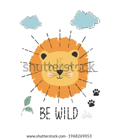 cute lion and plants print