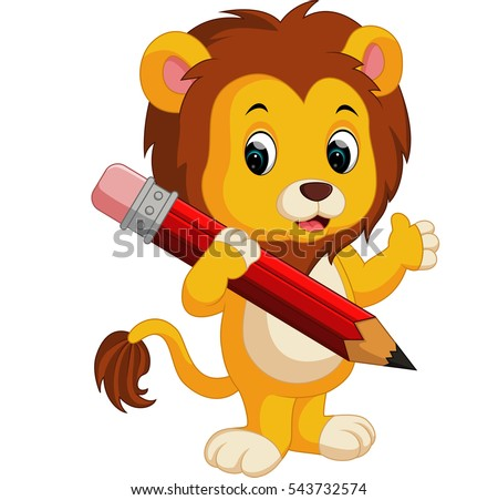 cute lion cartoon holding pencil