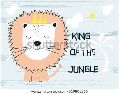 cute lion cartoon on footprint