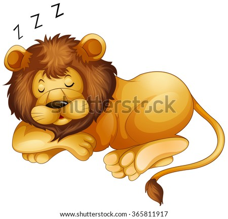 cute lion sleeping alone