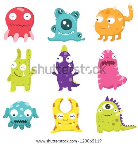 cute litter monsters set