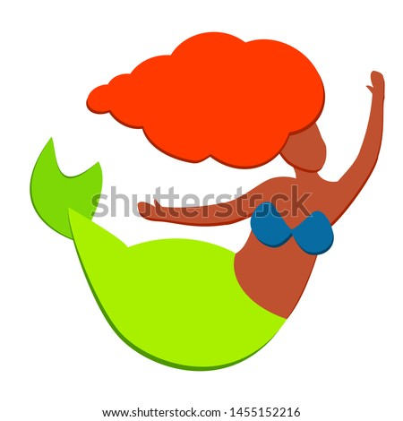 Cute little afro american black mermaid with brown skin redhead Ariel isolated in white background. Beautiful Nymph in greet swimsuit without a face swims. Vector illustration.