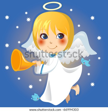 Cute little angel Gabriel announcing with a trumpet the arrival of Christmas