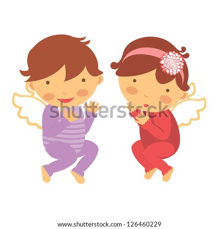 cute little angels vector
