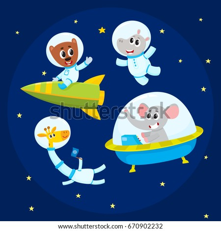 Cute little animal astronaut, spaceman characters - elephant, giraffe, hippo, bear - in open space, cartoon vector illustration. Elephant, giraffe, hippo, bear astronaut, spaceman characters in space