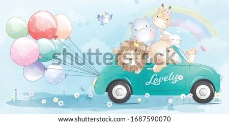 Cute little animals driving a car