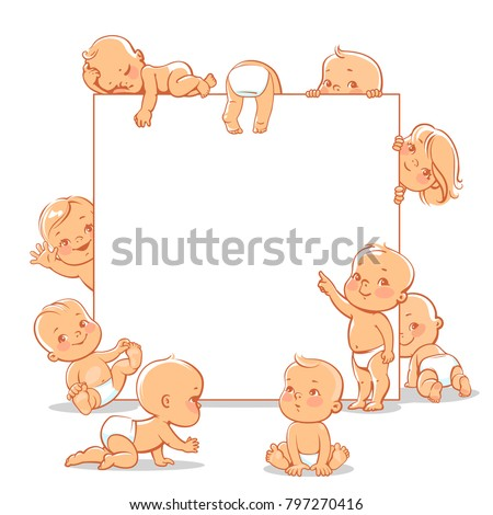 Cute little babies near blank text frame. Happy children in diapers stand, sit,crawl, sleep, waving hand. Kids holding white banner.  Active toddlers. Baby health and care vector illustration. - Shutterstock ID 797270416