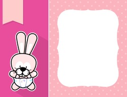 cute little baby bunny with diaper, black and white outline like a sticker and blank space for your birth announcement text, picture or invitation with decorative frame