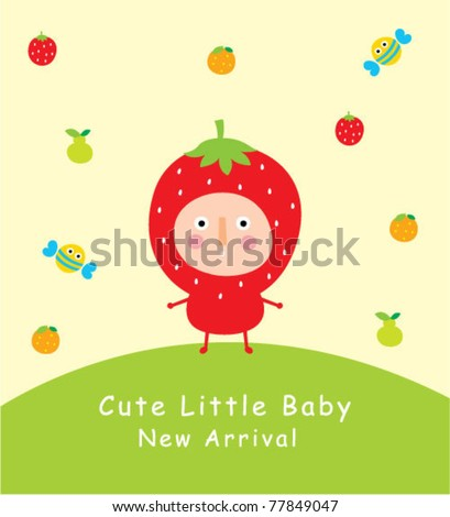Cute Little Baby Strawberry Greeting Stock Vector 77849047 ...