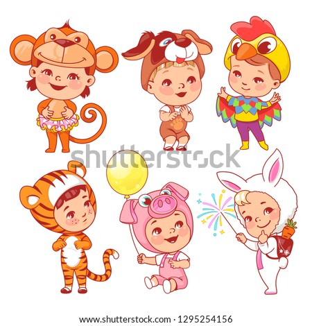 Cute little baby wear carnival costumes. Kindergarten masquerade. Preschool kids as animals. Mask of monkey, dog, rooster, tiger, pig, rabbit, puppy. Girls and boys play animals. Vector illustration.
