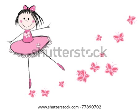 cute little ballerina in pink