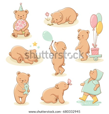 Cute little bear characters set. Perfect for baby shower celebration greeting card, stickers, invitation, t-shirt print, fashion design, kids wear. Cartoon hand drawn style, vector illustration.