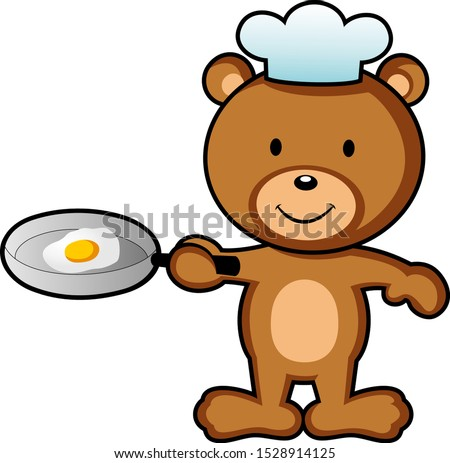 Cute little bear cooking egg wearing chef hat, background isolated vector illustration concept.