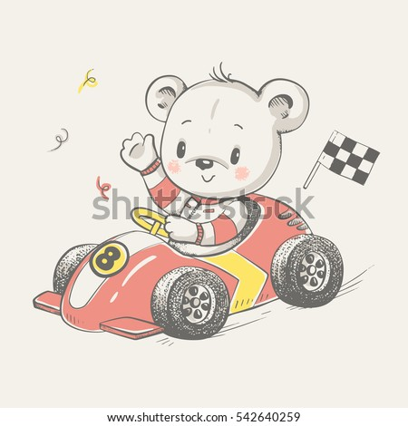 cute little bear driving a car