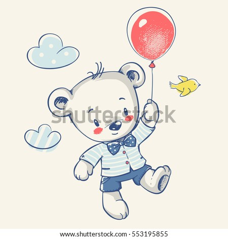 cute little bear flying on a