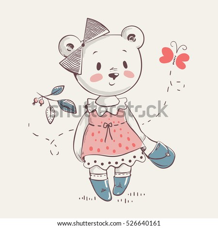 cute little bear girl in dress