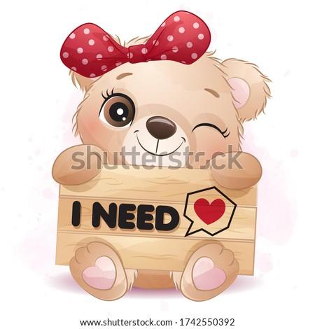 Cute little bear hugging a signboard Stock foto ©