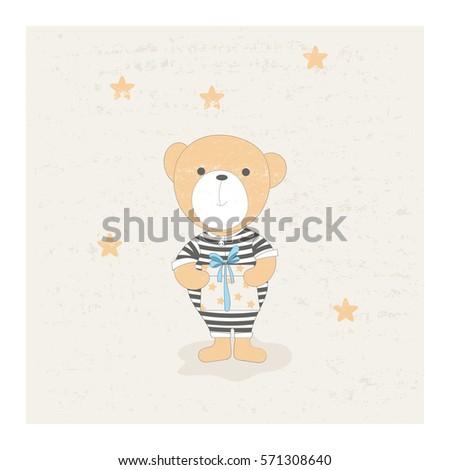 cute little bear in striped