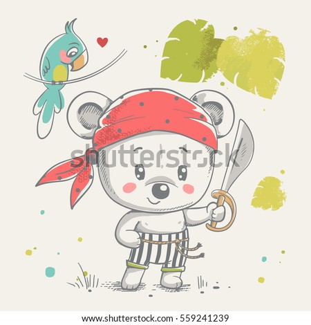 cute little bear pirate cartoon