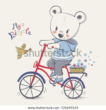 Cute little bear riding a bicycle cartoon hand drawn vector illustration. Can be used for baby t-shirt print, fashion print design, kids wear, baby shower celebration greeting and invitation card.