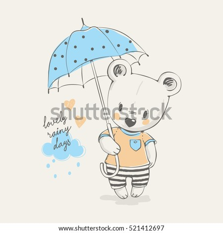 cute little bear with umbrella