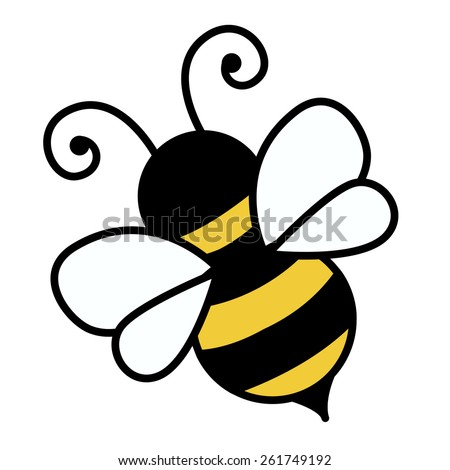 Cute little bee isolated on white background illustration