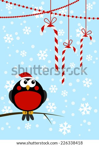 cute little bird with christmas