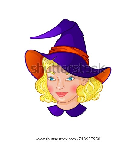 cute little blonde girl witch