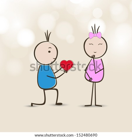 Cute little boy and girl cartoon making love on abstract brown background.