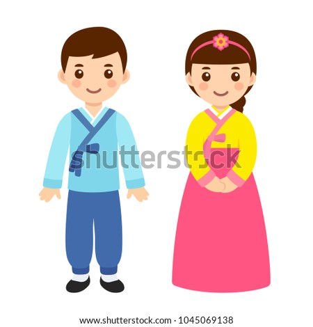 Cute little boy and girl couple in national costume of South Korea. Cartoon children in traditional korean New Year clothes. Vector clip art illustration.