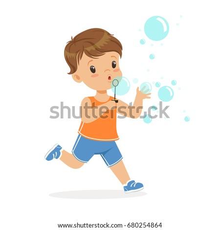 Cute little boy blowing bubbles vector Illustration Stock foto ©