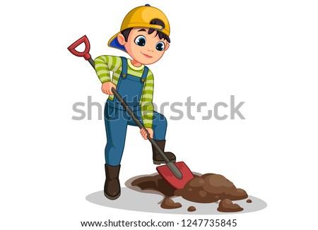 Cute little boy digging hole with shovel vector cartoon illustration
