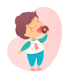 Cute little boy eating sweet donut with chocolate glaze sugar cream. Young hungry child enjoy yummy dessert. Preschooler kid and doughnut cake. Confectionery and pastry snack for children. Vector