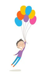 Cute little boy flies with colorful balloons, flat illustration, vector character, isolated on white background.