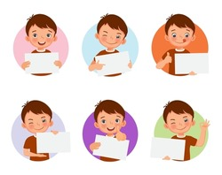 Cute little boy holding blank placard or poster in various facial expressions and hand gestures, include like, thumb up, finger pointing. Board sign with empty space templates for banner, ads design.