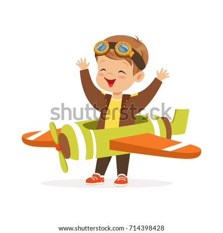Cute little boy in pilot costume playing toy plane, kid dreaming of piloting the plane vector Illustration