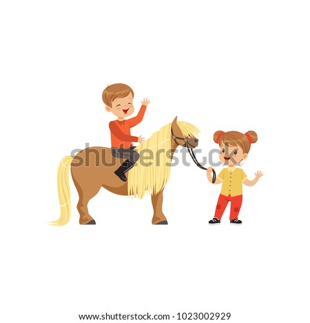 Cute little boy jockey sitting on pony horse, beautiful girl leading horse by the bridle, childrens equestrian sport vector Illustration